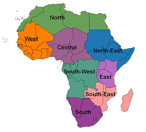 Regions of Africa OSM Topo Routable